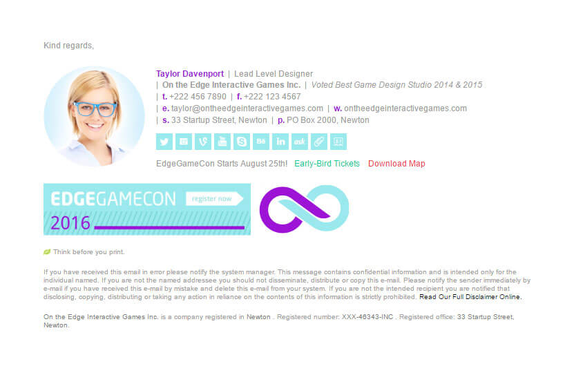 Horizontal Edge Game Email Signature Template