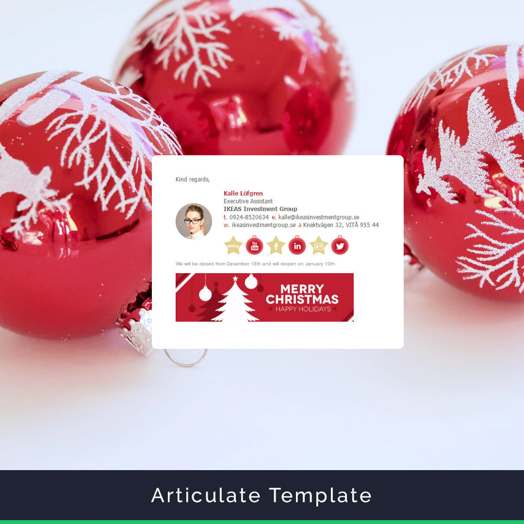 Articulate Email Signature Template Example Christmas