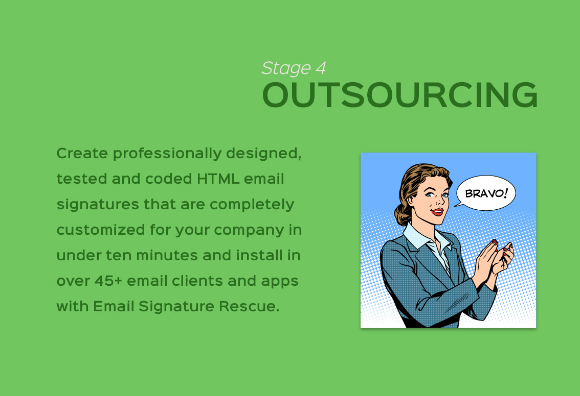 four stages company email signature design outsourcing