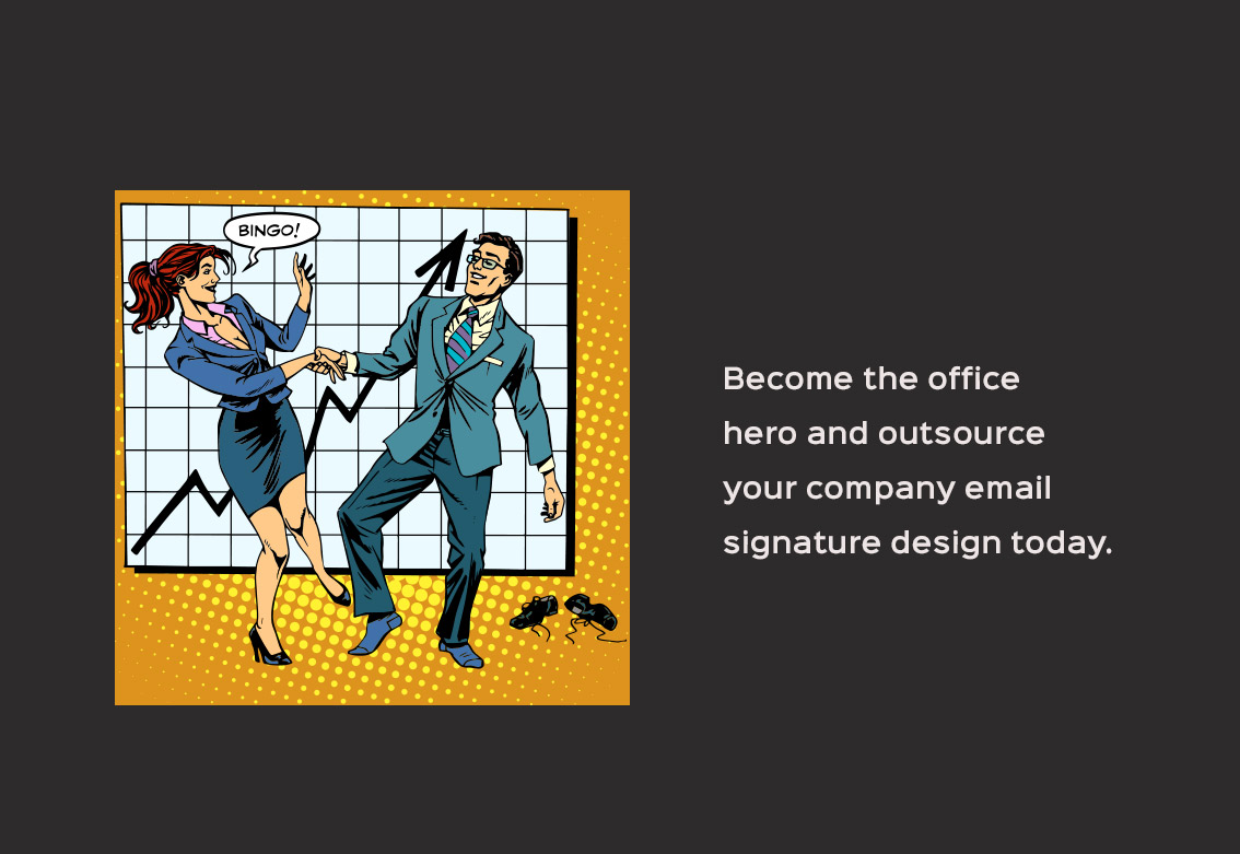 four stages company email signature design hero