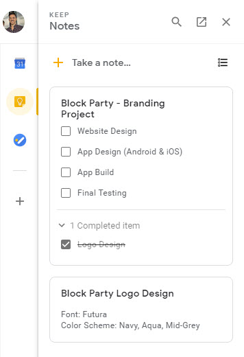 take notes with Google Keep