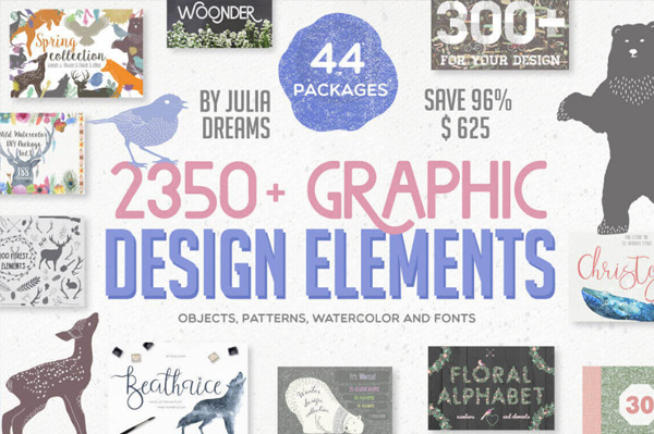 97% off over 2350 graphic design elements