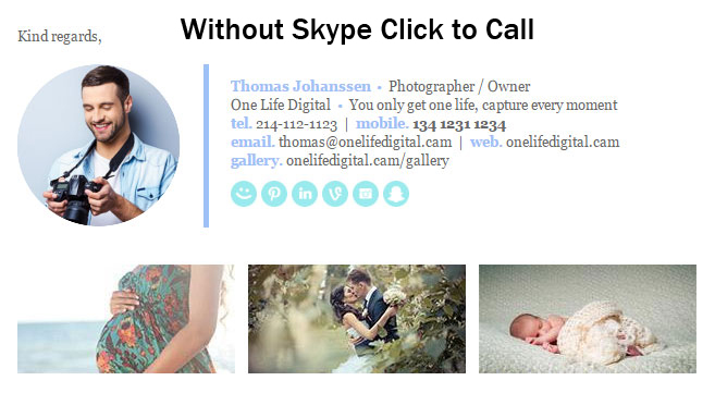 email signature without skype click to call installed