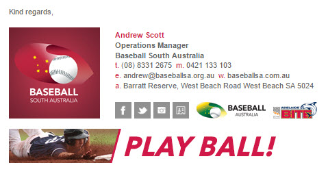 Baseball South Australia - Email Signature Example