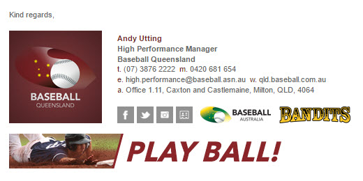 Baseball Queensland - Email Signature Example