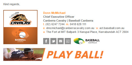 Baseball Canberra - Email Signature Example