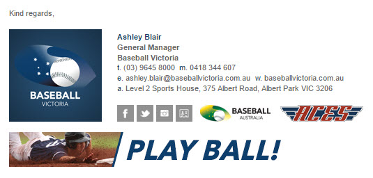 Baseball Victoria - Email Signature Example