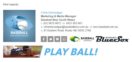 Baseball New South Wales - Email Signature Example
