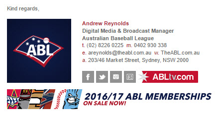 Australian Baseball League - Email Signature Example