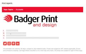 example badgerprint