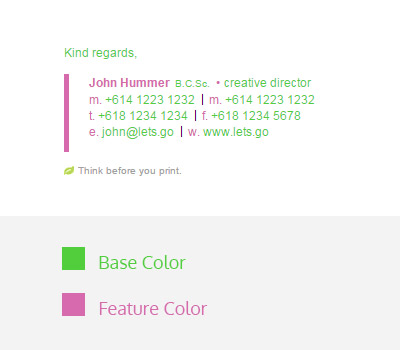 base color and feature color email signature design