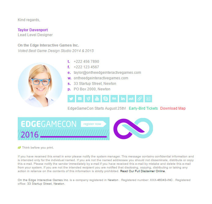 Bizedge Edge Game Email Signature Template