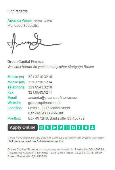 Bizedge Mortgage Broker Email Signature Example