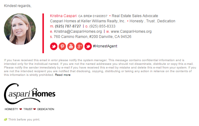 Caspari Homes Email Signature Example