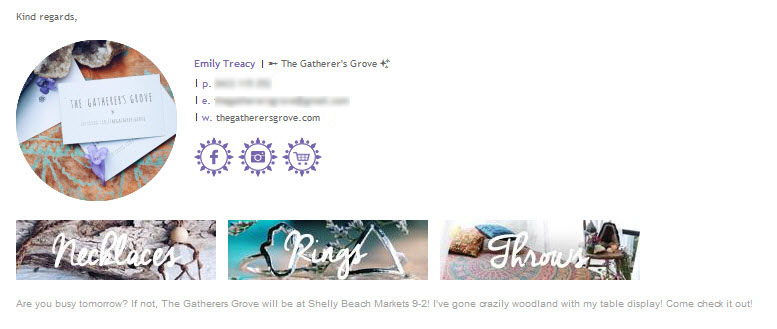 Email Signature Example Horizontal Gatherers Grove