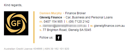 Email Signature Customer Example Glenelg Finance