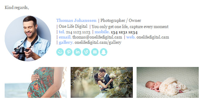 Horizontal Email Signature Template Photographer