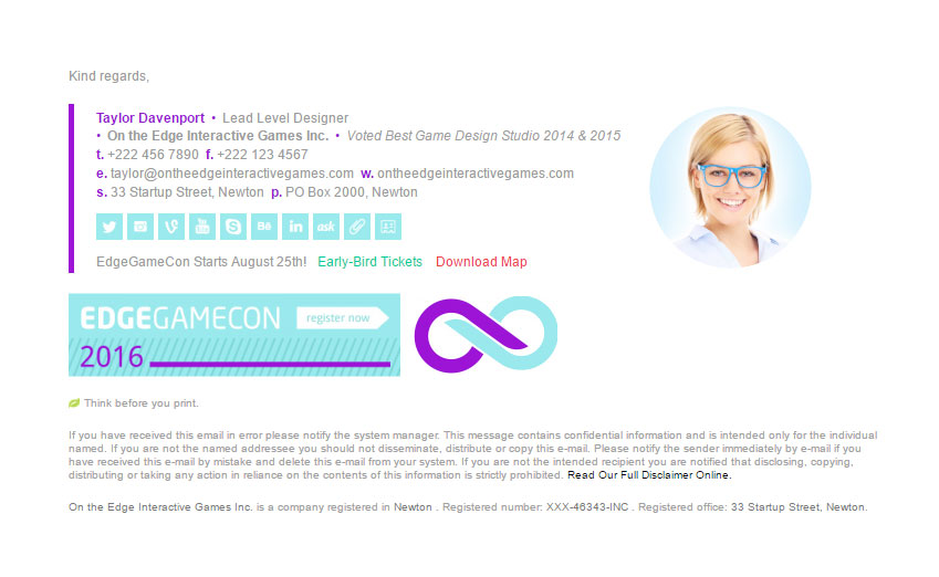 Professional Edge Game Email Signature Template