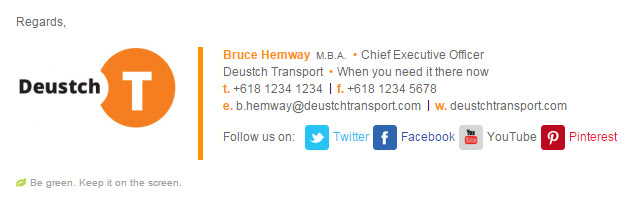 Professional Email Signature Template Bruce Transport