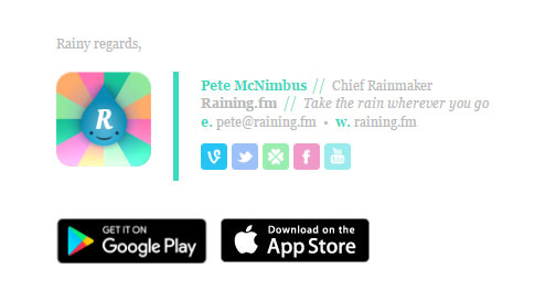 Professional Rainingfm Email Signature Template