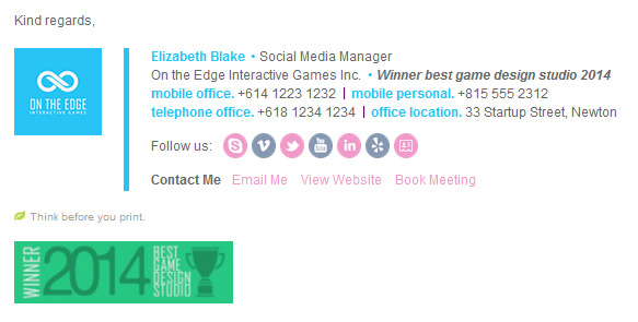 V2 The Professional Email Signature Template Elizabeth Blake