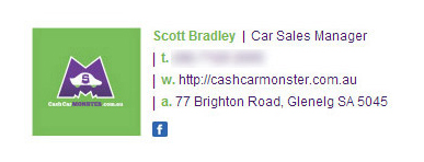 Cash Car Monster Email Signature Example