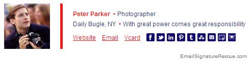 Peter Parker's (Spiderman) Funny Email Signature