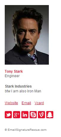 Tony Stark's (Iron Man) Funny Email Signature