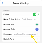 Select signatures then select your email account