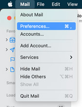 From your toolbar select mail then preferences