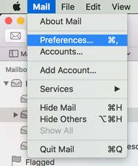 Select Mail then click Preferences to create your new signature
