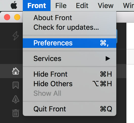 select Front then Preferences