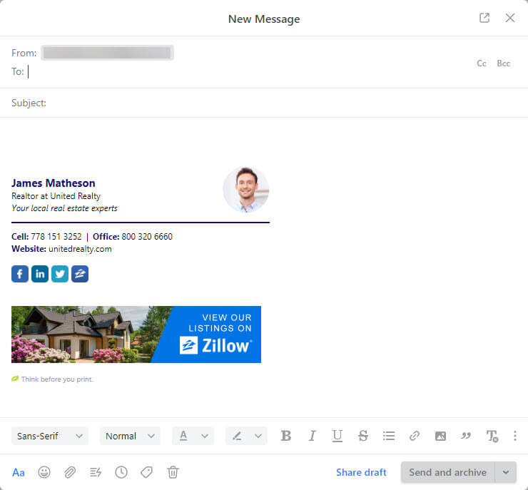 front app compose a new email