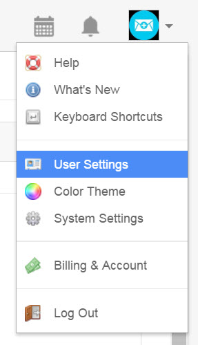 select user settings from your menu
