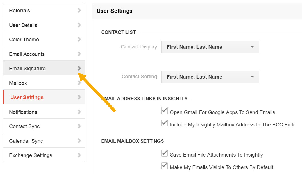 select email signature from the left menu