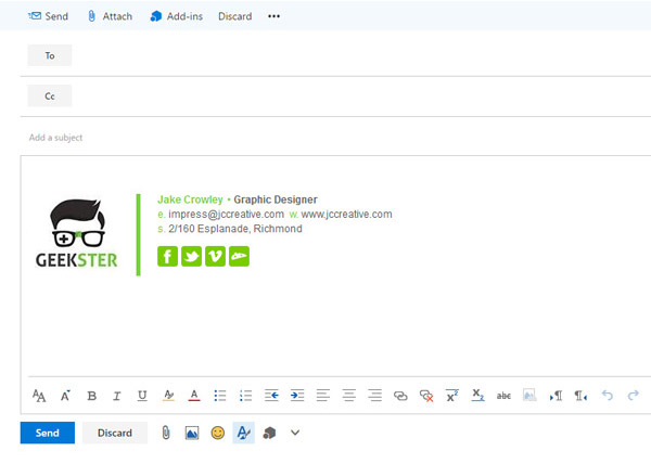 paste your email signature and hit save