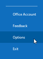 Click File and select Options at the bottom left of your screen