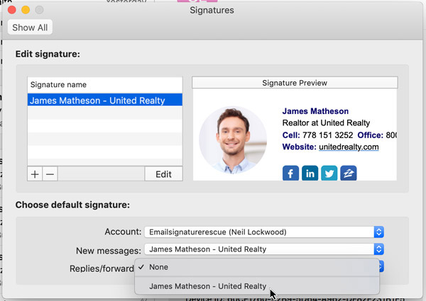 set your email signature as your default
