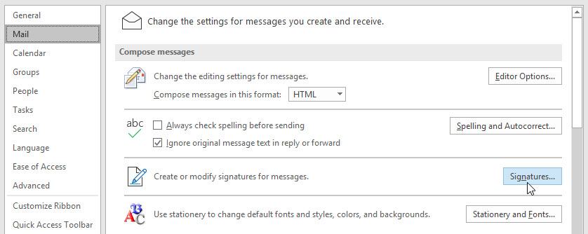 outlook 2019 mail signatures