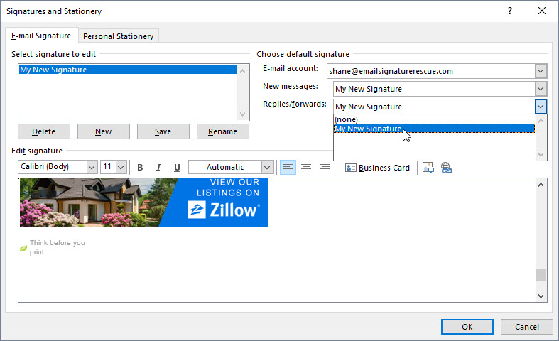 Paste signature into Outlook 2019