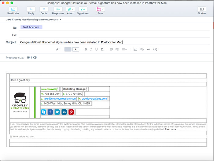 close preferences and compose a new email