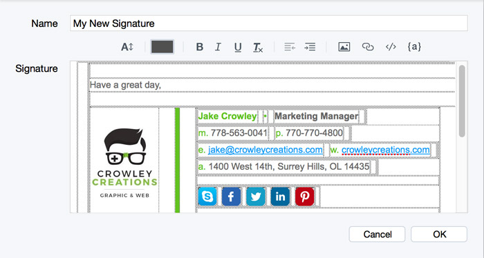 switch to postbox and paste your signature
