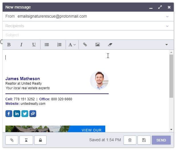 Compose a new email and your signature will automatically insert