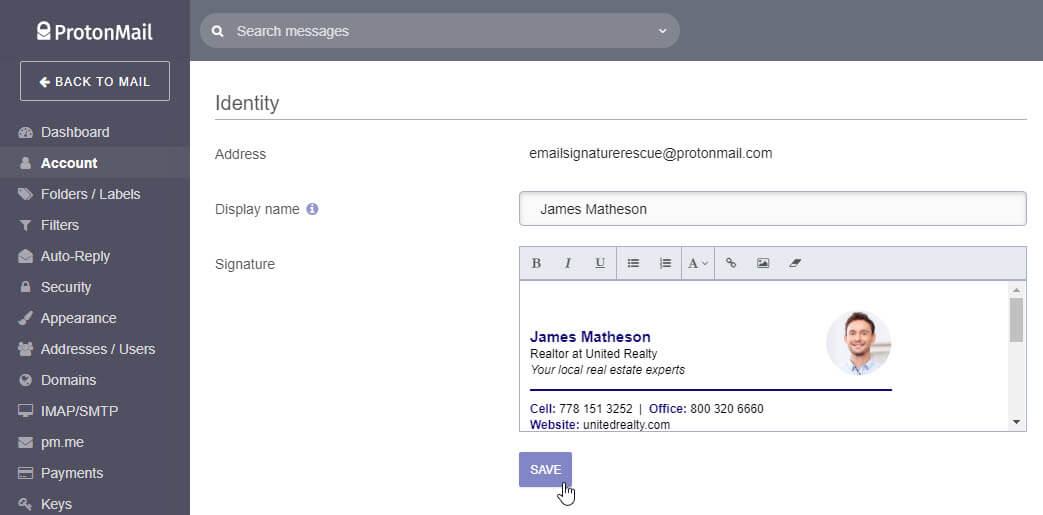 Paste your email signature into your email signature field