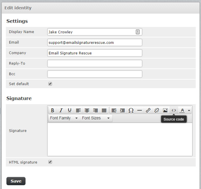fill out your account details then enable html input and formatting