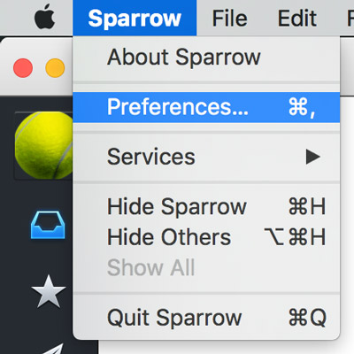 select sparrow then preferences