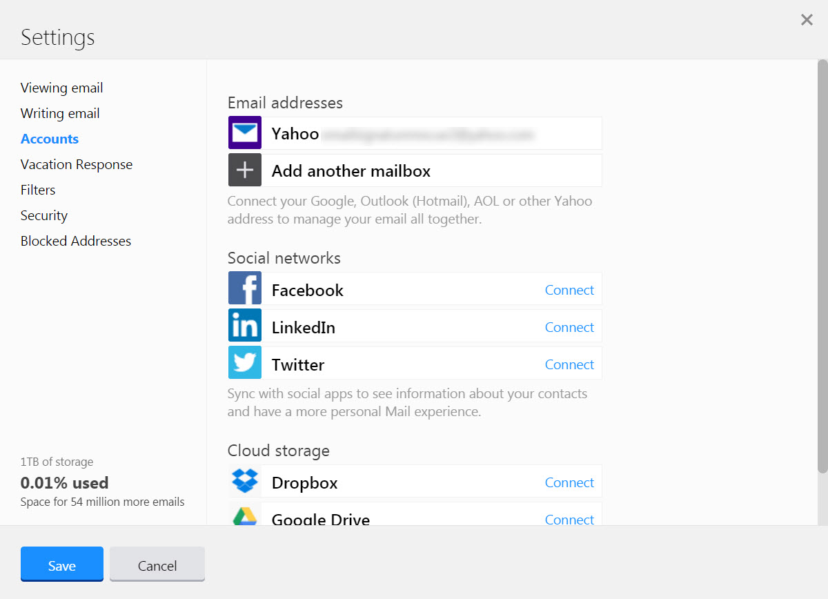 yahoo select accounts menu