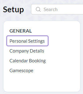 select personal settings under your general heading