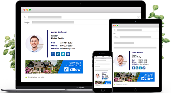 Email signature for realtor on laptop, mobile and tablet