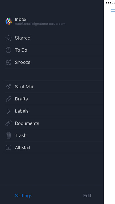 Tap on settings from the bottom of your Airmail App menu